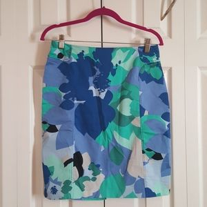 NY&Co Blue/Green Pattern Pencil Skirt